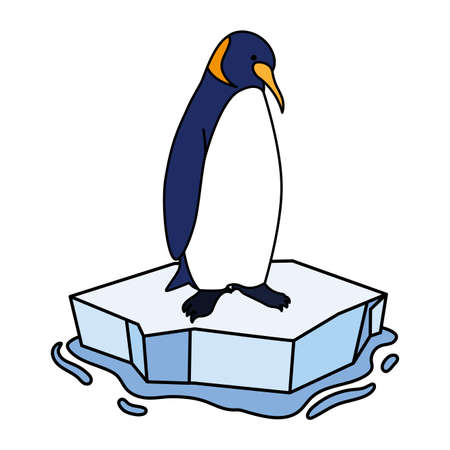 penguin on an ice floe drifting vector illustration design