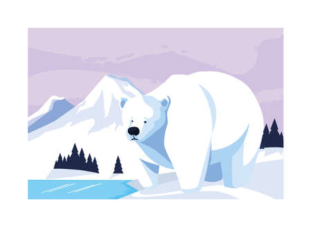 polar bear at the north pole, arctic landscape vector illustration design 版權商用圖片 - 140074542