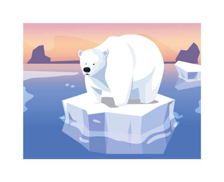 large polar bear on an ice floe drifting vector illustration design 版權商用圖片 - 140074824