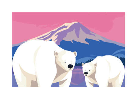 polar bear at the north pole, arctic landscape vector illustration design
