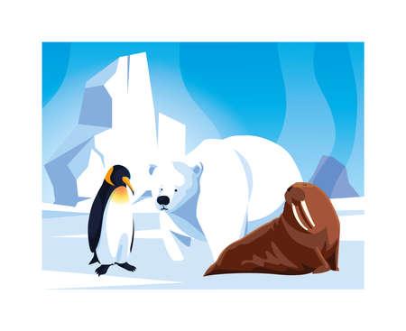 arctic animals at the north pole, arctic landscape vector illustration design