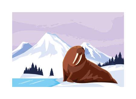 walrus at the north pole, arctic landscape vector illustration design Stock Illustratie