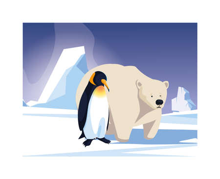 penguin and polar bear at the north pole, arctic landscape vector illustration design 向量圖像