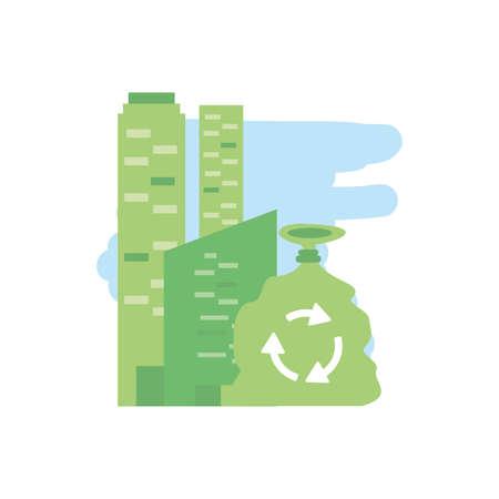 facade building urban with bag eco friendly vector illustration design