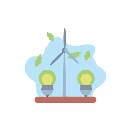 saving bulbs electricity with windmill vector illustration design