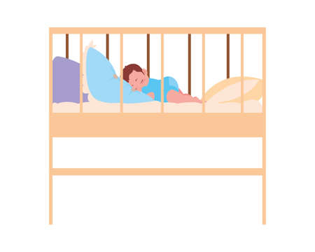 Baby inside cradle design, Child newborn childhood kid innocence and little theme Vector illustration