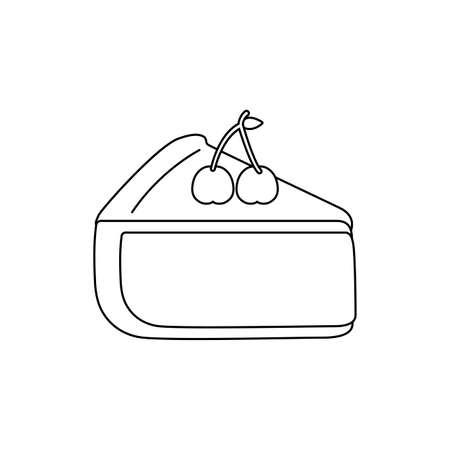 sweet slice cake isolated icon vector illustration design Çizim