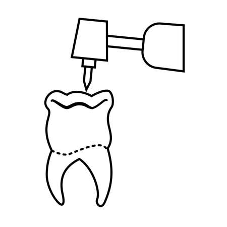 tooth human with dentist drill vector illustration design