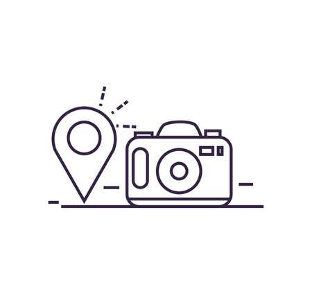camera photographic with pin location vector illustration design Иллюстрация