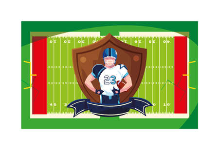 man player american football with shield vector illustration design Иллюстрация