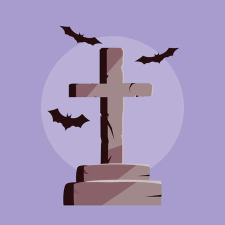 tombstone in cross shape and bats flying vector illustration design