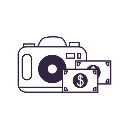 camera photographic digital with bills dollars vector illustration design Banque d'images - 140113488