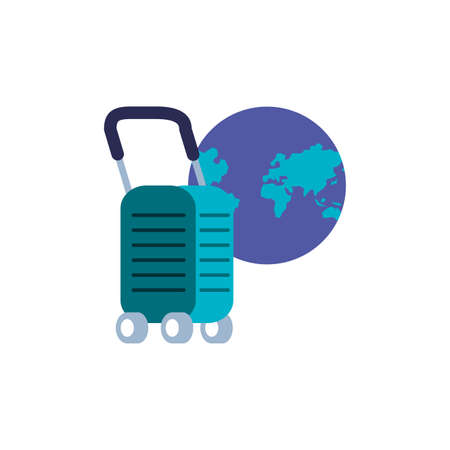 suitcase with wheels and planet earth vector illustration design