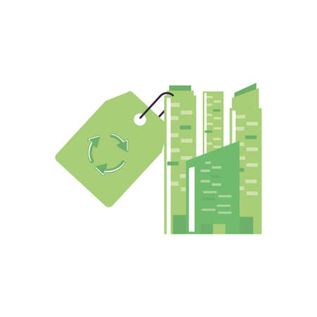 facade building and tag commercial with recycling arrows vector illustration design