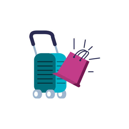 suitcase and wheels with shopping bag vector illustration design