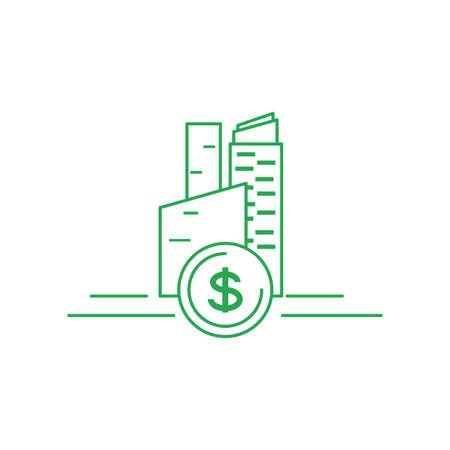 facade building friendly with money coin vector illustration design
