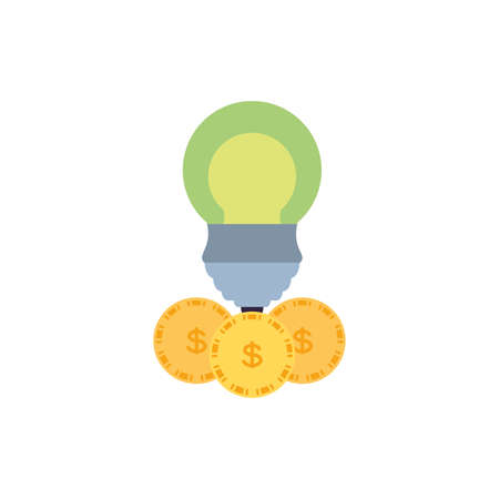 saving bulb electric with coins dollar vector illustration design Illusztráció