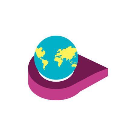 pin pointer location with planet earth vector illustration design