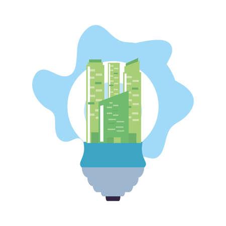 facade building friendly in saving bulb electric vector illustration design Ilustrace