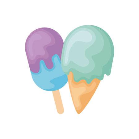 set of delicious ice creams vector illustration design Illustration