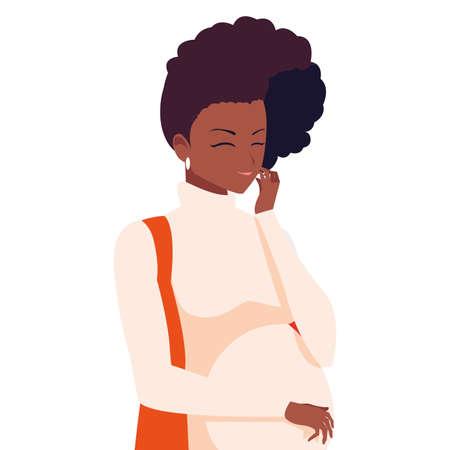 Pregnant woman design, Mother family love pregnancy maternity expecting and motherhood theme Vector illustration Vektoros illusztráció