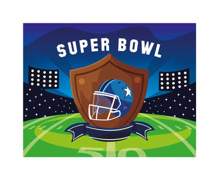 american football helmet in shield with ribbon, label super bowl vector illustration design Ilustracja