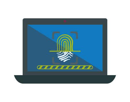 laptop with finger print security vector illustration design Vektoros illusztráció