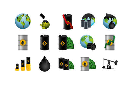 Oil industry icon set design, Gas energy fuel technology power industrial production gasoline and petroleum theme Vector illustration Stock Illustratie