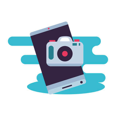 smartphone device with camera application vector illustration design