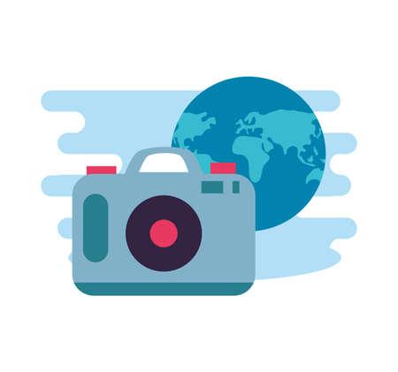 camera photographic digital with world planet vector illustration design
