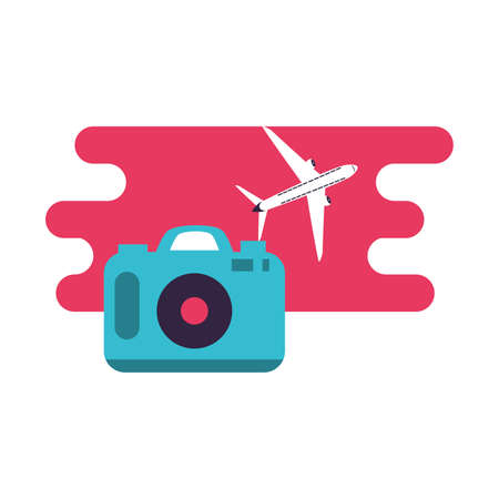 airplane flying vehicle with camera photography vector illustration design