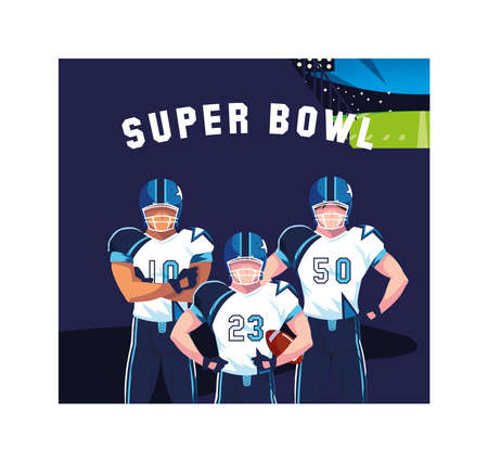 team of players american football with label super bowl vector illustration design