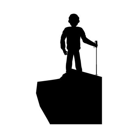 silhouette man skiing icon vector illustration design