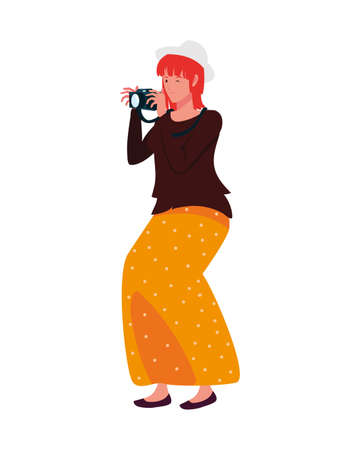 Woman with camera design, Device gadget technology photography equipment digital and photo theme Vector illustration