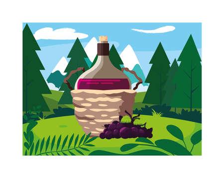 bottle of wine in wicker basket and grapes vector illustration design