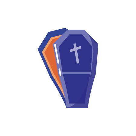 coffin with christian cross on white background vector illustration design