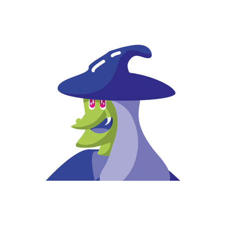 head of witch with hat on white background vector illustration design Standard-Bild - 140158167