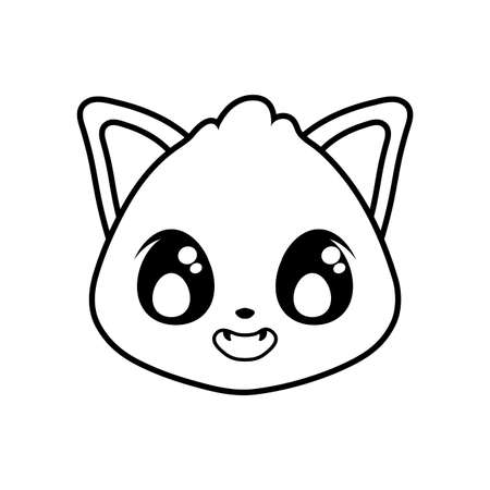 head of cute cat on white background vector illustration design