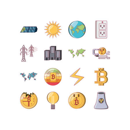 Money and bitcoin icon set of bit currency exchange financial bank web internet market electronic finance and net theme Vector illustration Ilustração