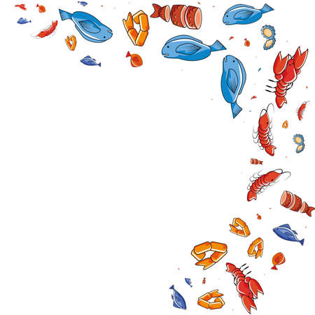 delicious seafood pattern background vector illustration design