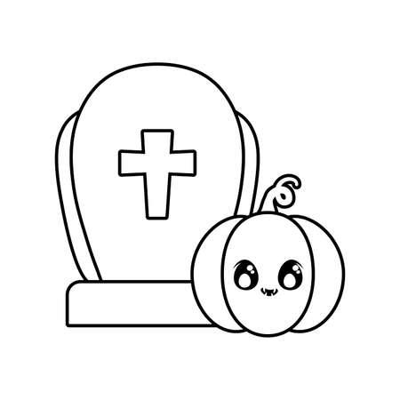 graveyard tombstone with pumpkin of halloween vector illustration design Иллюстрация