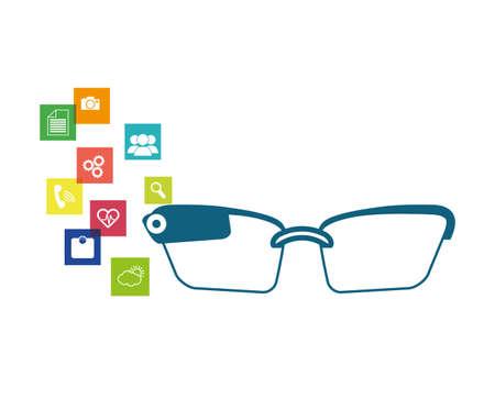 smart glasses tech with applications menu vector illustration design