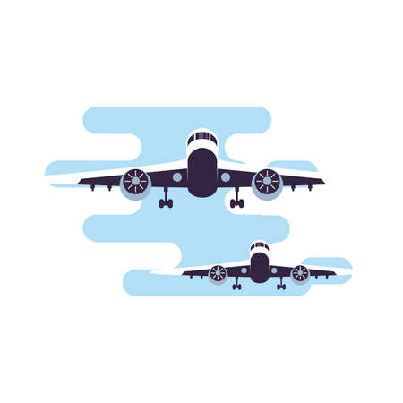 airplane flying vehicle isolated icon vector illustration design