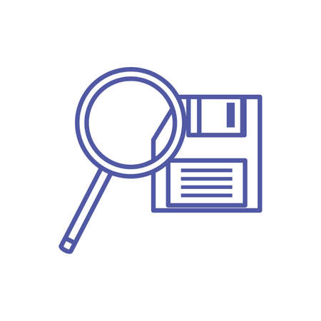 search magnifying glass with floppy disk vector illustration design