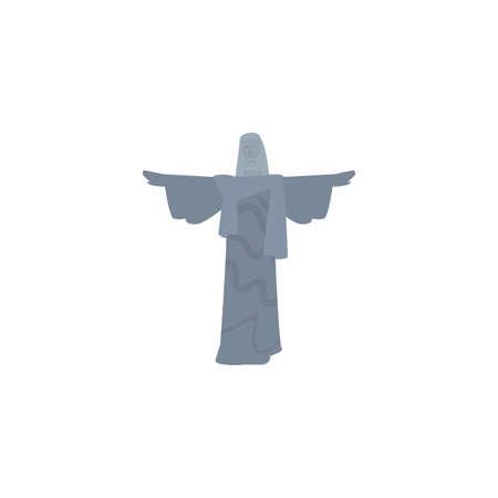 statue to jesus christ in de janeiro brazil on white background vector illustration design