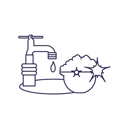 Water tap design, Object home work hygiene equipment domestic and housework theme Vector illustration