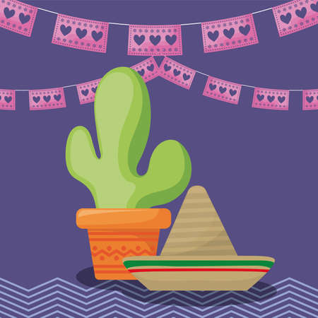 mexico celebration with cactus and hat traditional vector illustration design