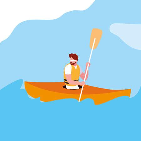 man in kayak extreme sport vector illustration design