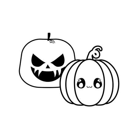 halloween pumpkins on white background vector illustration design