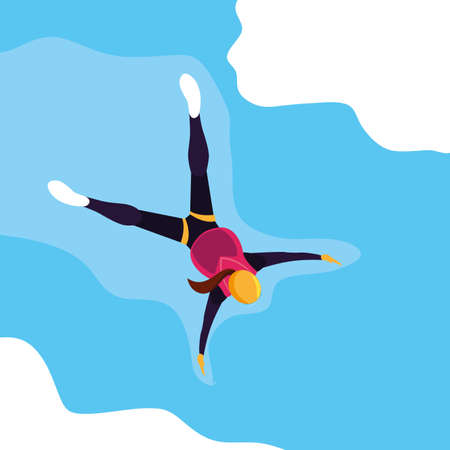 woman skydiver in air with parachute closed vector illustration design